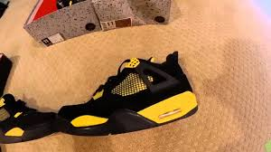 jordan ferrari black and yellow air jordan thunder 4 fake vs real comparison youtube