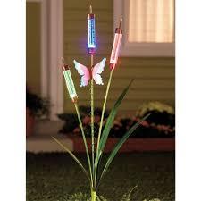 Solar Stake Garden Lights - solar garden decor butterfly solar cattails garden stake decor