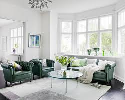 Green Chairs For Living Room Emerald Green Living Room With Green Chesterfield Sofa And Green