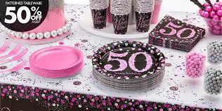 50th birthday party supplies pink sparkling celebration 50th birthday party supplies party city