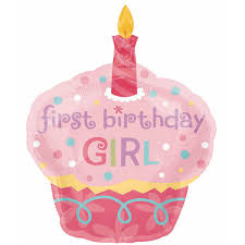 1st birthday girl 1st birthday cupcake girl shape foil balloon