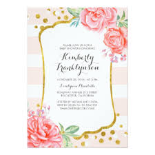 pink and gold baby shower invitations floral baby shower invitations announcements zazzle