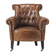siege capitonné fauteuil capitonné à roulettes en cuir marron fauteuil capitonné