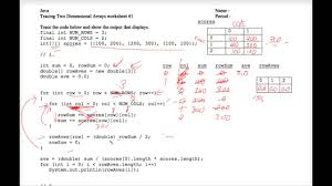 java tracing two dimensional arrays worksheet 1 youtube