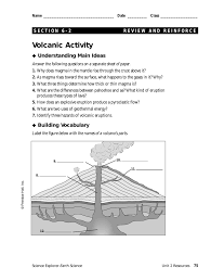 Prentice Hall Inc Science Worksheet Answers Volcanic Activity Understanding Main Ideas Building Vocabulary