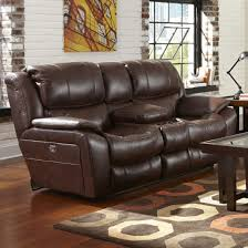Leather Power Reclining Loveseat Furniture Recliner With Cup Holder For Extra Comfort