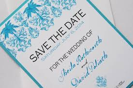 Destination Wedding Save The Date Turquoise Palm Tree Damask Beach Destination Wedding Save The Date