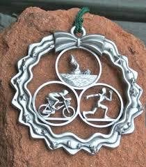 triathlon ornament in wreath handmade triathlon