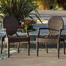 Patio Chair Material by Amazon Com Townsgate Wicker Outdoor Chair Set Of 2 Patio
