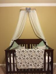 crib canopy crown gender neutral bed burlap linen gray nursery