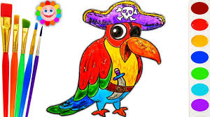 how to draw cartoon parrot pirate drawing coloring page for