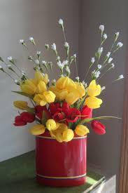 red tulips yellow tulips silk flower arrangement red ceramic flowers