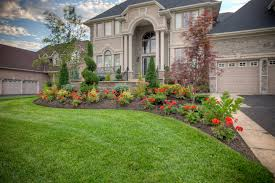 Landscaping Ideas Small Area Front Use Red Flowers And Green Grass Area In Spacious Front Yard