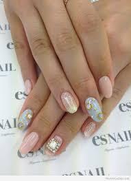 nail light pink and blue nail polish