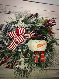 christmas wreath holiday wreath winter snowman wreath for front