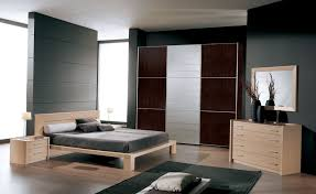 modern bedroom color schemes with simple natural wooden master bed