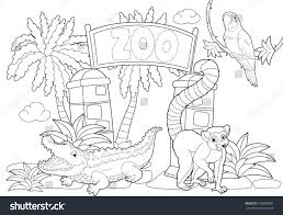 coloring page zoo illustration children stock illustration