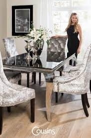 the sandringham crushed velvet silver fabric dining chairs are a