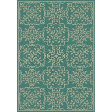 Teal Area Rug Shop Garden Treasures Blakeslee Teal Rectangular Indoor Outdoor