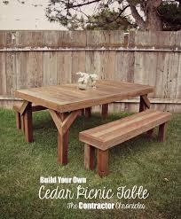 Diy Picnic Table Plans Free by Cedar Picnic Table The Contractor Chronicles Yard Ideas