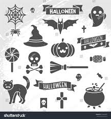 set halloween ribbons characters scrapbook elements stock vector