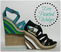 diy painted wedge sandals wedges diy ideas and craft