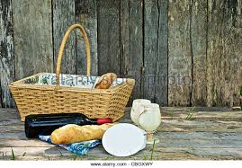 Wine And Country Baskets Wicker Basket Wine Bread Cheese Stock Photos U0026 Wicker Basket Wine