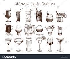 vintage martini illustration big set vintage alcoholic drinks sketch stock illustration