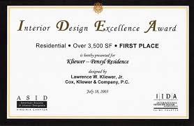 Certificate Of Interior Design by Cox Kliewer U0026 Company P C
