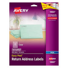 avery clear easy peel return address labels 1 2 x 1 3