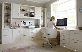 wondrous corner white home office design with single white desk