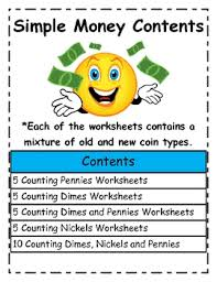 beginning simple counting money worksheets using new coins by