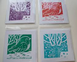 card set of 4 printmaking handmade linocut 15 00