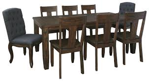 9 piece rectangular dining table set with upholstered chairs