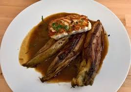 Main Dish With Sauce - daily special main dish fish fillet with leeks in bacon sauce