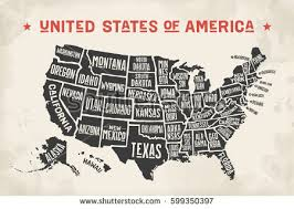 united states map black and white poster map united states america state stock vector 599350397