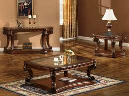 glass coffee table set of 3 dark oak finish 3 piece coffee table set free shipping today