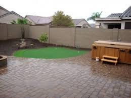 Small Backyard Desert Landscaping Ideas Arizona Backyard Design With Paver Patio Synthetic Grass Putting