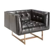 Overstock Armchair Sunpan U0027club U0027 Matisse Rose Gold Frame Black Leather Arm Chair
