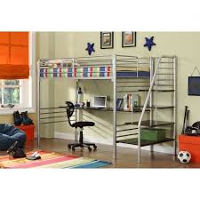 full size metal loft bed with desk bed u0026 headboards