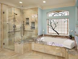 Heated Bathroom Floors Flooring Ideas Built In Bathtub And Glass Door Shower Area Also