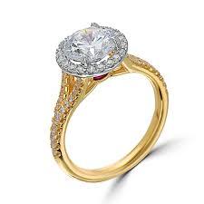 gold halo engagement rings yellow gold split shank halo engagement ring eli jewels designers