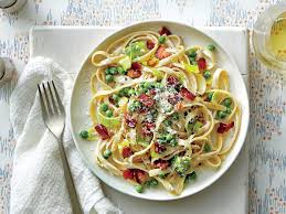 www southernliving fettuccine alfredo with leeks peas and bacon recipe southern