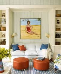 Beach Inspired Area Rugs Beach Themed Living Room Ideas With Wall Art And Round Ottomans