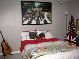 interior excellent music theme bedroom in britpop style with the