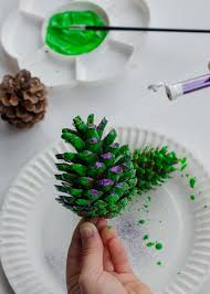 Decorating Pine Cones With Glitter Natural Christmas Decorations Pine Cone Trees Growing Family