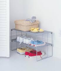 bedroom varnished oak wood closet organizer with sliding shoe