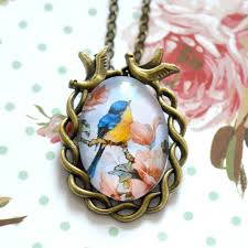 vintage style necklace images Style blue and yellow bird pendant necklace png