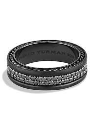 black diamond band lyst david yurman streamline two row black diamond band ring in