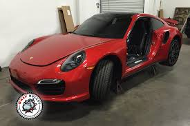 red porsche 911 porsche 911 turbo wrapped in 3m gloss dragon red car wrap wrap